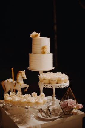 A two tiered cake and cupcakes displayed on round stands
