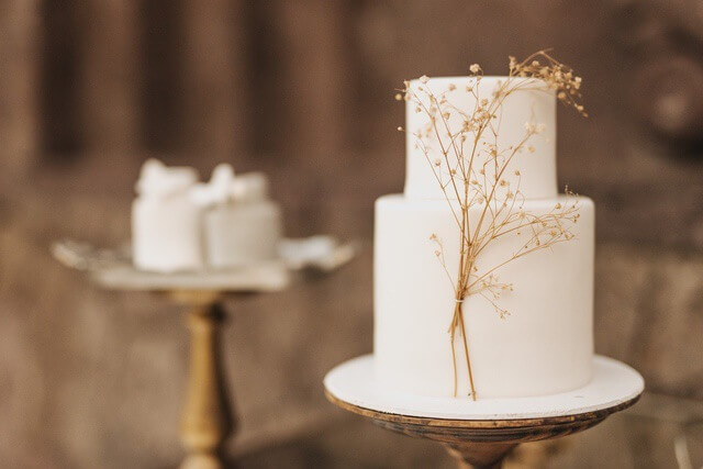 Two tiered white cake on wooden base with sprig of dried flower