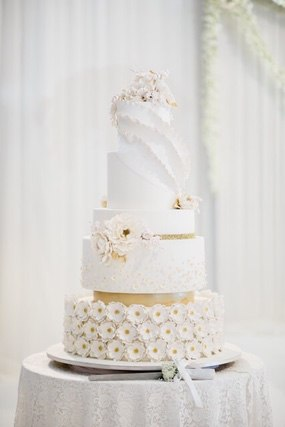 Wedding cake on round table