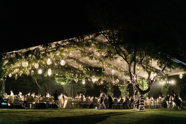 Illuminated marquee surrounded by trees