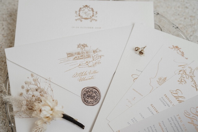 Wedding invitation and envelope with wax seal