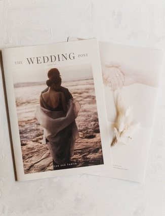 Magazine with photo on front and title of wedding
