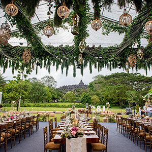 Wedding reception dining area with view of Borobudur temple