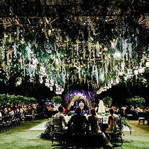 Wedding reception with dramatic hanging flower display