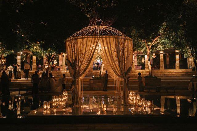 Wedding pergola illuminated at night